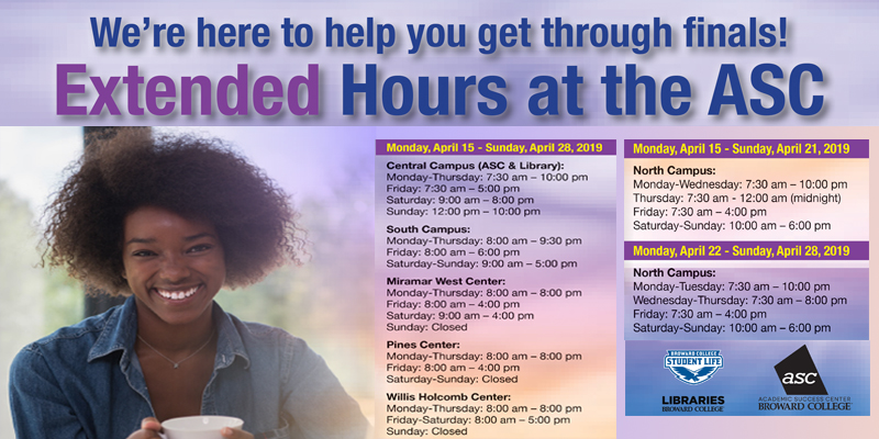 ASC and Library extended hours